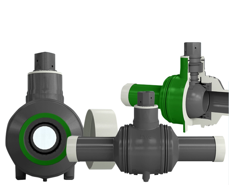Quarter-turn ball valves for HDPE pipe systems.